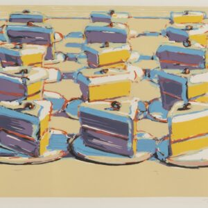 Prints of purple and yellow cakes