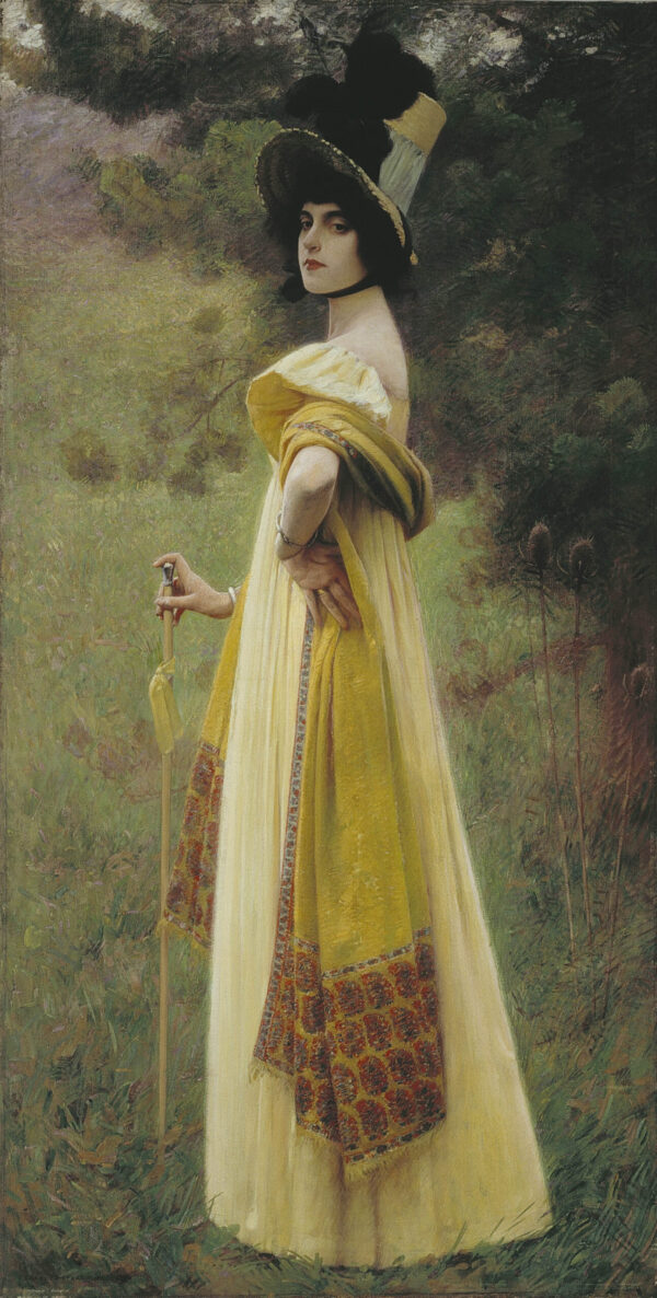 Painting of a woman in a yellow dress, wearing a long yellow shawl, with an umbrella