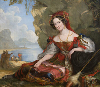 Painting of a woman in red sitting on the coast
