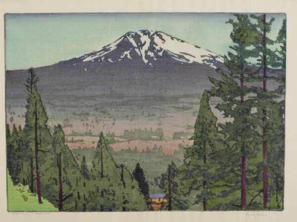 Greeting card, mountain with trees