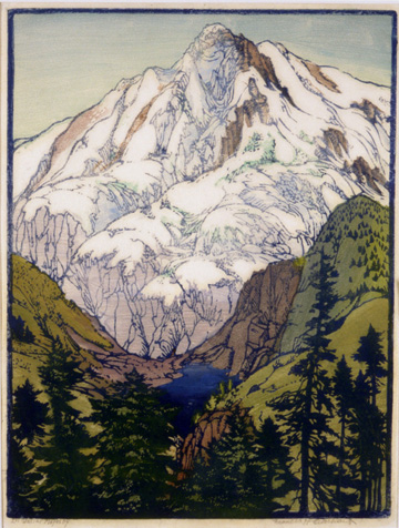 Greeting card; mountain with trees