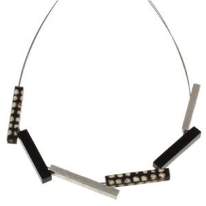 Black, gray, and wood stick necklace