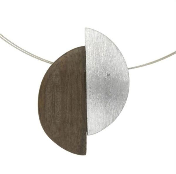 Wood and silver half moon necklace