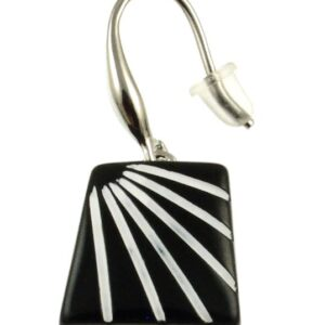 Square black earrings with white sunburst design
