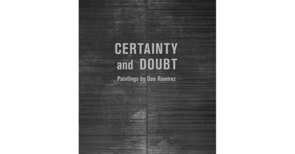 """Gray book covered that says """"Certainty and Doubt"""""""