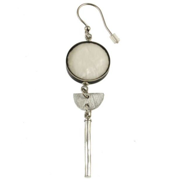 Dangle earrings with white circle on top, long silver dangle