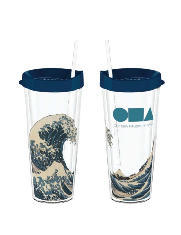 Water bottle, clear with blue wave image, blue lid, clear straw