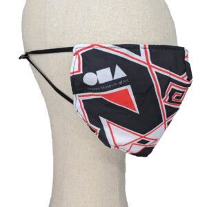Black mask with red and white zig zags