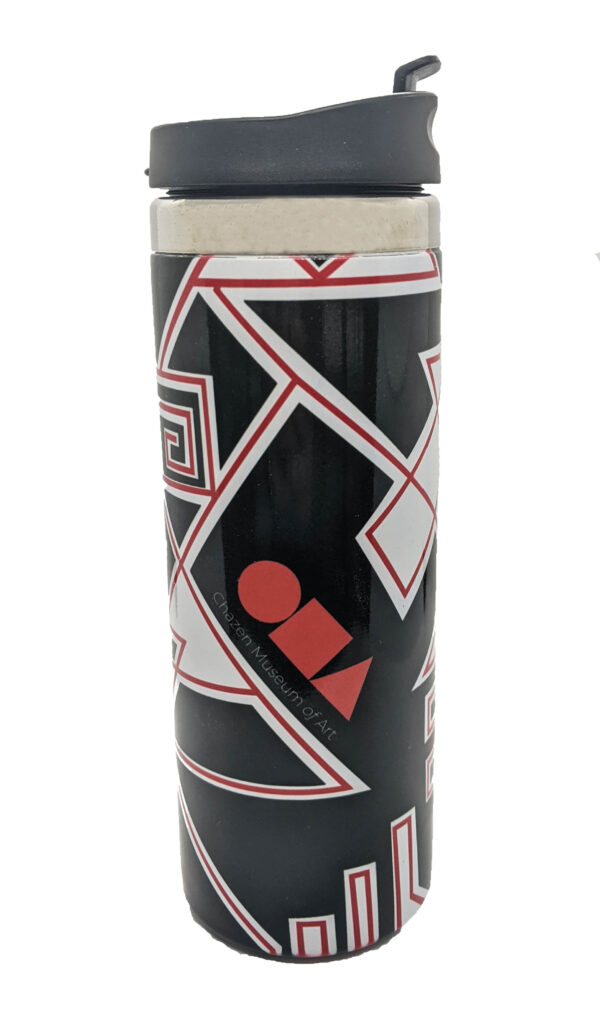 Black travel tumbler with red and white zig zags