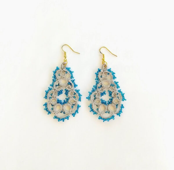 Gray and blue beaded lace earrings