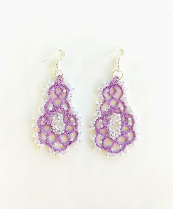 Purple and white beaded lace earrings