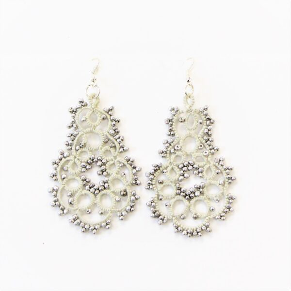 Gray and white beaded lace earrings