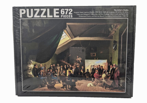 Puzzle of people in a room with paintings around them