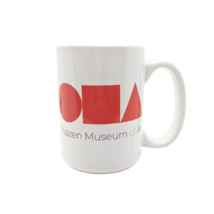 White coffee mug with large red circle, square, and triangle