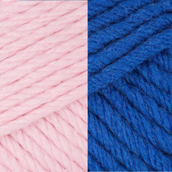 Blue and pink yarn