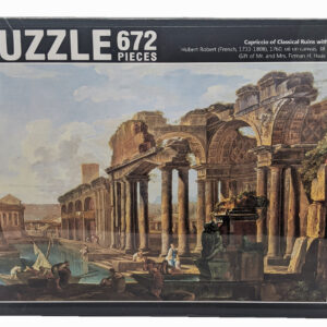 Puzzle of ancient ruins and boats