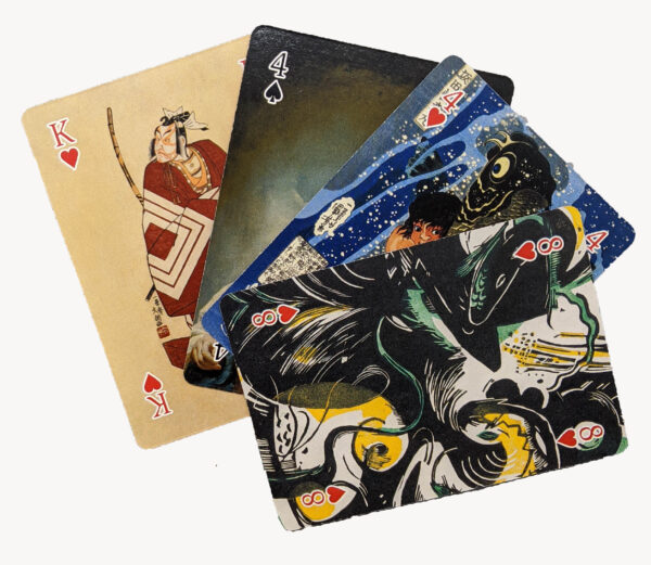 Playing card sample, samurai, painting of a woman, boy with carp, green and yellow animals