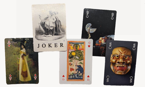 Card samples, woman in yellow dress, man with crown, man and elephant, nautilus cup, mask