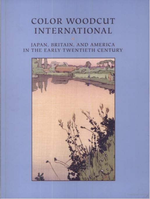 Book cover, blue background with print of a river