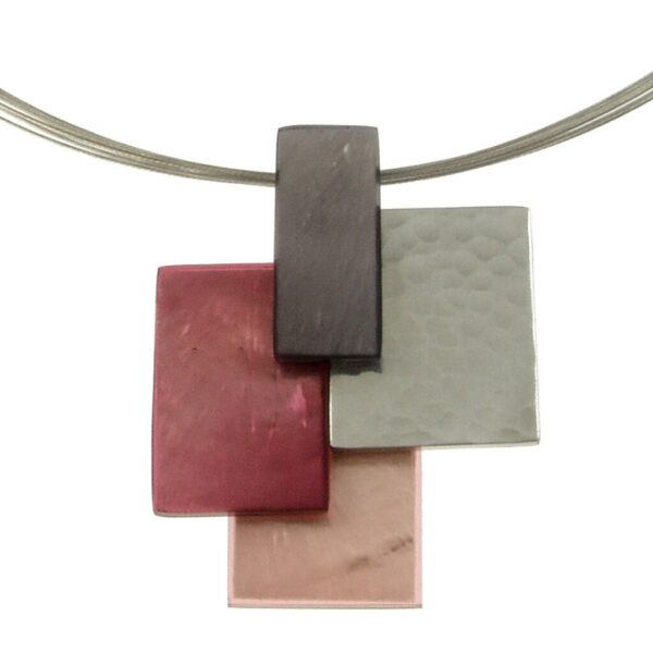 Necklace with 4 colored square pendant