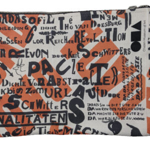 Beige zippered pouch covered in black and red words