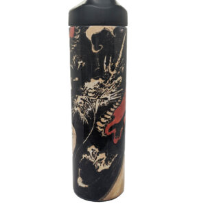 Black water bottle with white and red draon
