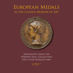 Book cover, maroon background, medal with face