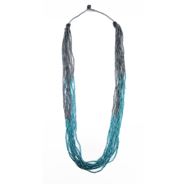 Blue and gray beaded necklace