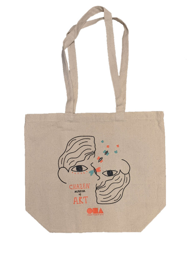 Canvas tote bag with face