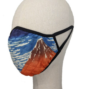 Mask with red mountain, blue sky