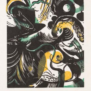 Print, green, yellow and black abstract animals