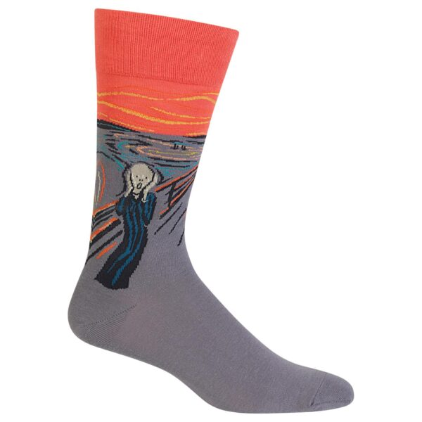 Orange and gray socks with screaming man