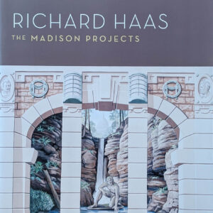 Book cover, large painted mural of columns and a water fall
