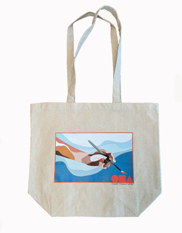 Canvas tote bag with image of hand and paintbrush