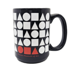 Black coffee mug with white circle, square, and triangles.