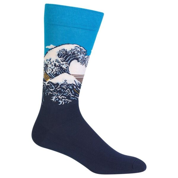 Blue socks with wave