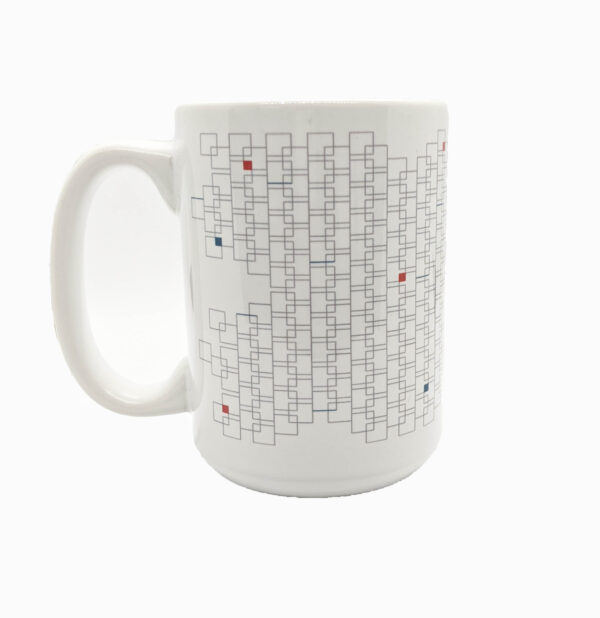 White mug covered in small grey squares