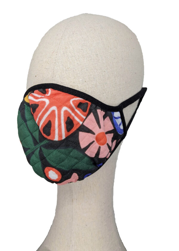 black mask with colored flowers