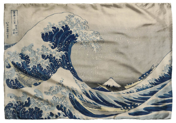 Beige scarf with large blue wave