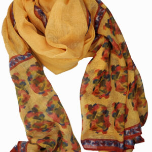 Yellow scarf with red details