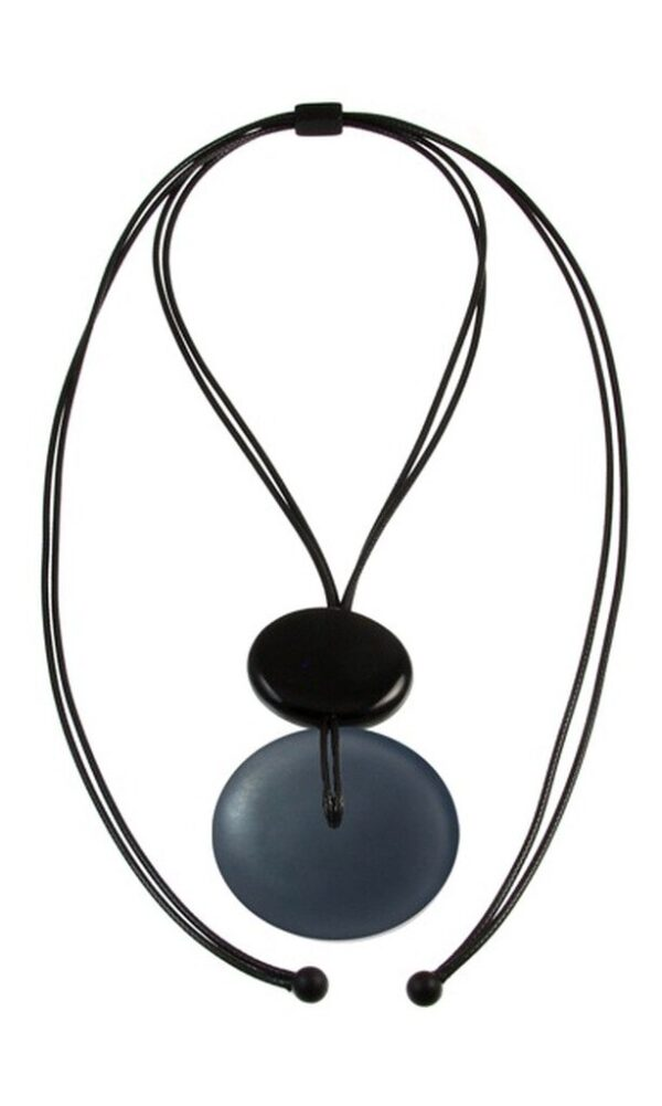 Gray circle pendant on faux leather strap