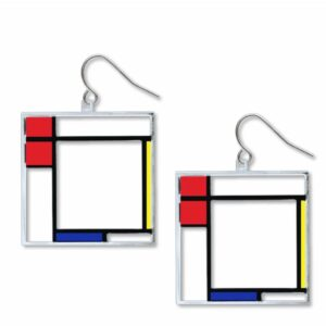 Red, yellow, blue and black square earrings