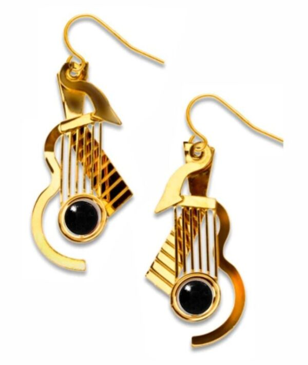 Gold guitar earrings with black bead