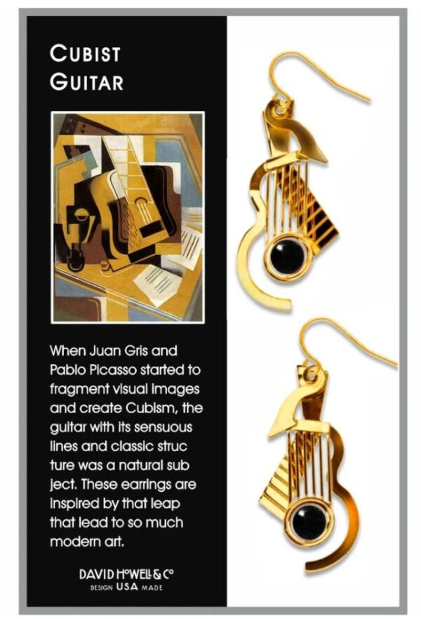Gold guitar earrings in box with black descriptive text panel