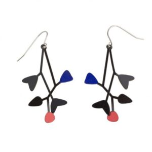 Black, red and blue mobile earrings