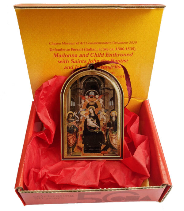Ornament in box; ornament of madonna, child, and priests