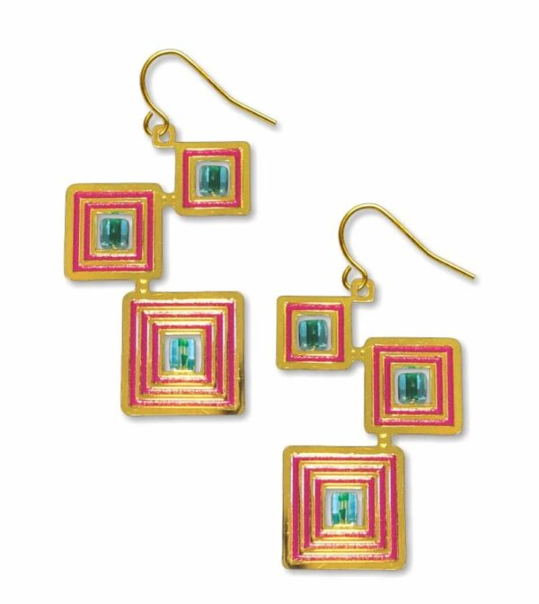 Gold square earrings with blue beads