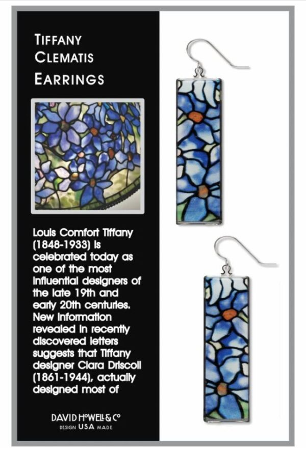 Blue floral earrings in a box with black descriptive text panel