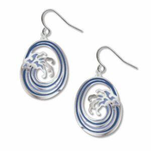 Blue wave earrings; silver ear wires