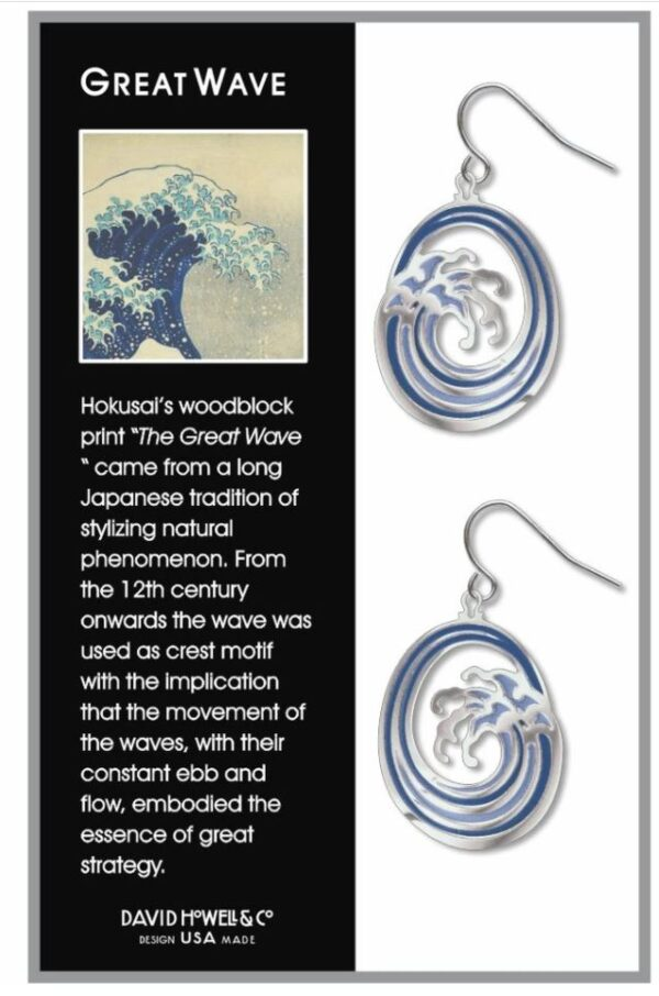 Blue wave earrings in box with black descriptive text box